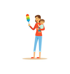 Super mom character with child cleaning the dust vector