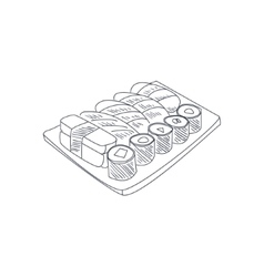Sushi Set Hand Drawn Sketch vector image