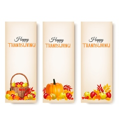Three Happy Thanksgiving Banners vector