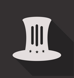top hat flat icon with long shadow on background vector image