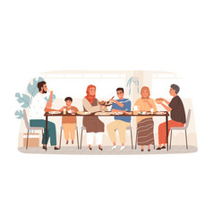 traditional arabic big family having dinner vector image
