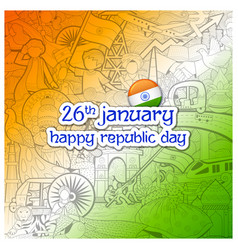 Tricolor banner with indian flag for 26th january vector