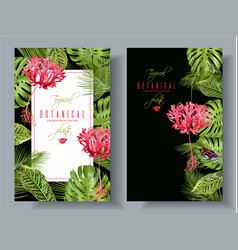 tropical flower vertical banners vector image vector image