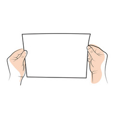 Two hands holding a clear white blank sheet of vector