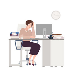 unhappy female clerk sitting at desk sad tired vector image