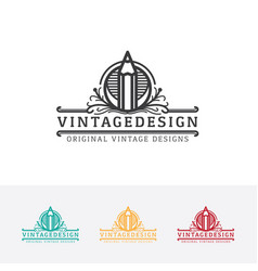 Vintage art logo design vector