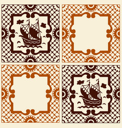 vintage traditional ceramic mosaic with sailboat vector image