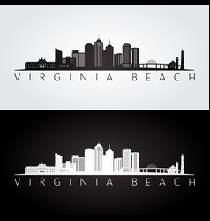 Virginia beach usa skyline and landmarks vector