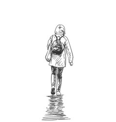 walking woman in rain jacket with hood and vector image