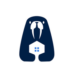 walrus house home negative space logo icon vector image