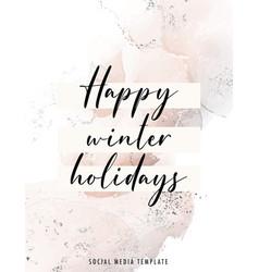Watercolor winter holidays christmas greeting vector