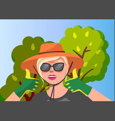 woman gardener in garden vector image