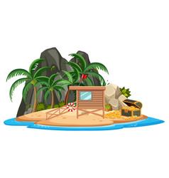 Wooden house on island vector