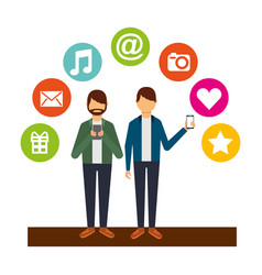young men using smartphone social media icons vector image