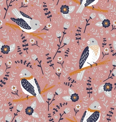 Beautiful birds and flower berries pattern vector image vector image