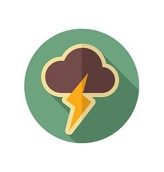 Cloud Lightning retro flat icon Weather vector image