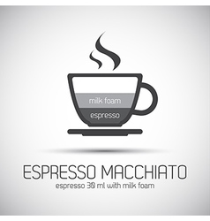 Cup of espresso macchiato simple icons vector image