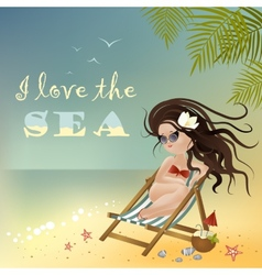 Girl sitting in a deckchair vector image vector image