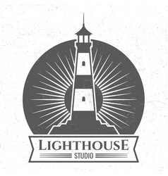 Grunge lighthous silhouette logo or label vector