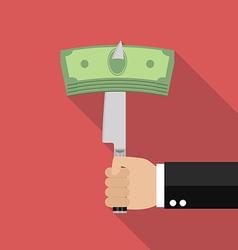 Man knifed money bill vector image