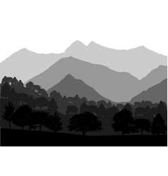 mountains and forest landscape vector image