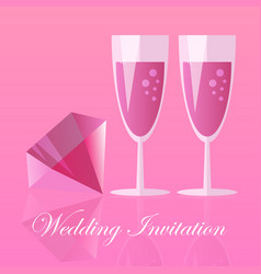 two champagne glasses vector image
