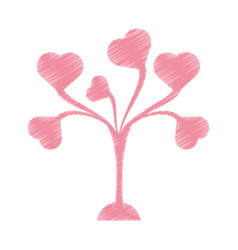 Drawing pink tree leaves shape hearts lovely vector