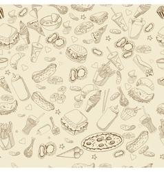 Fast food coloring book design line art vector image