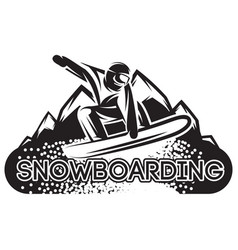 monochrome template with snowboarder in a vector image vector image