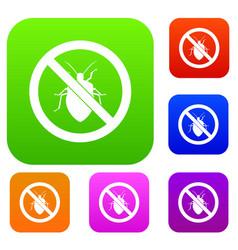 no bug sign set collection vector image