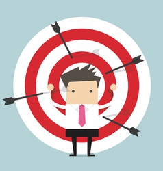 Businessman on archery targets vector image