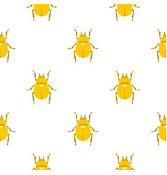 gold scarab beetle pattern seamless vector image vector image