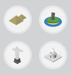 isometric travel set of india mosque rio egypt vector image