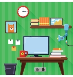 modern workplace in room Flat vector image vector image
