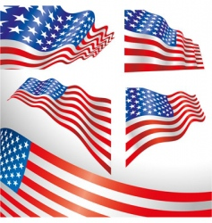 USA windy flags vector image vector image