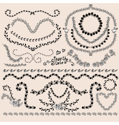 Floral Monochrome Design Laurels Wreaths Frame vector image