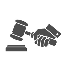 judge gavel in hand black and white icon vector image