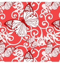 seamless background with swirls and butterflies vector image vector image
