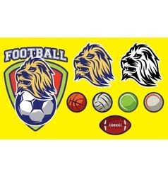 template for sports logo with a lion head and vector image