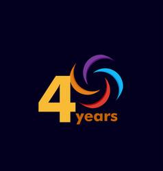 40 year anniversary rainbow template design vector