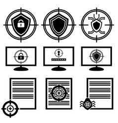 A set of icons of cyber security antivirus system vector