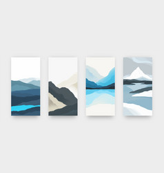 Abstract landscape minimalist posters in asian vector