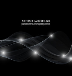 Abstract white wave on black background vector