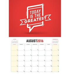 August 2016 Wall Calendar Planner for 2016 Year vector