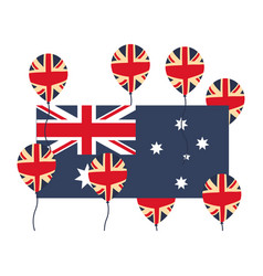 australia flag and balloons decoration vector image