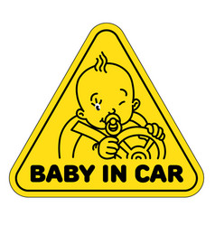 baby in car back window sticker or sign vector image