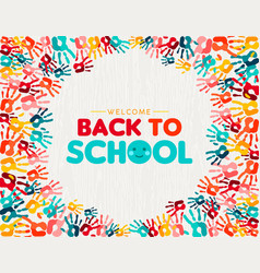 Back to school card diverse children hand print vector