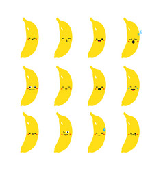 Banana modern flat emoticon set vector