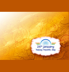 Banner with indian flag for 26th january happy vector