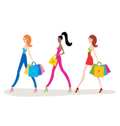 beautiful young women with shopping bags isolated vector image